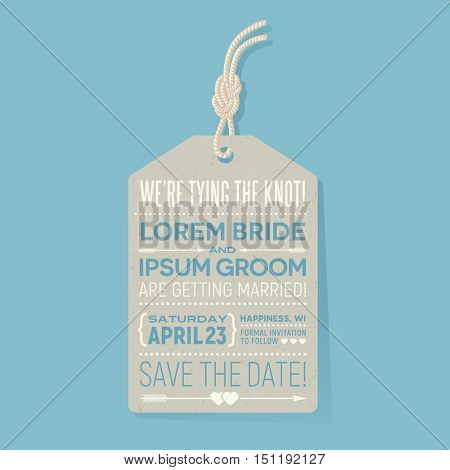 save the date wedding card. typography design tag with knotted cord.