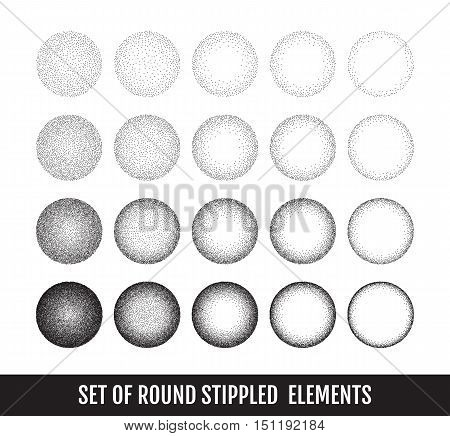 Set of black and white grainy dotwork circle elements. Retro halftone stippled backgrounds, vector illustration.