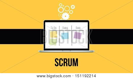 scrum methodology with laptop and sticky notes with yellow background vector