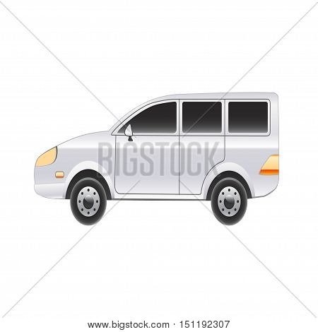 Family car on a white background. Vector illustration