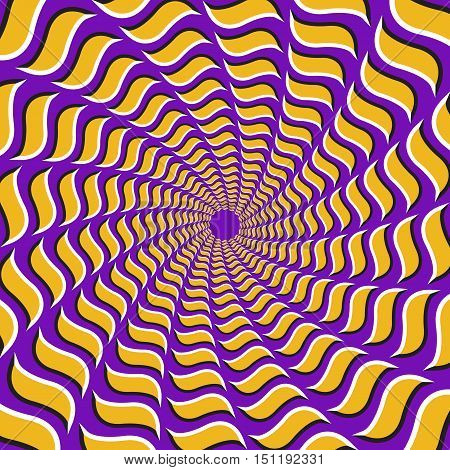 Optical illusion background. Yellow hooks fly apart circularly from the center on purple background.
