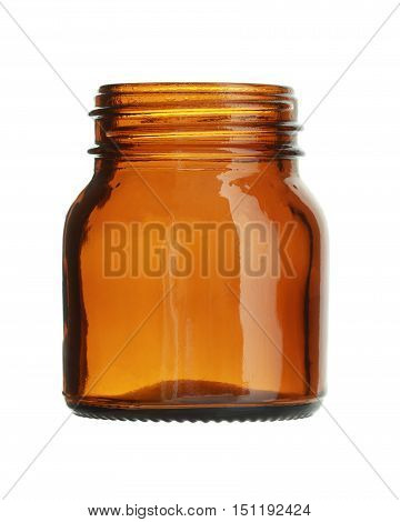 Short Brown Glass Bottle Wide Mouth isolated on white background
