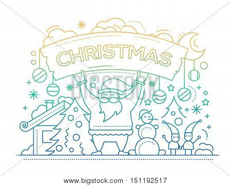 Merry Christmas plain line flat design card with holidays symbols - Santa Claus, Christmas tree, snowman, banner
