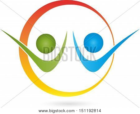 Two People And Circle, Two People, Couple Logo