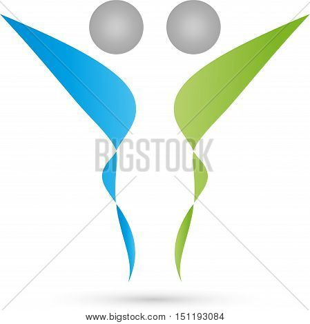 Two people in green and blue, couple logo