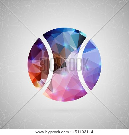 Abstract creative concept vector icon of tennis ball. For web and mobile content isolated on background, unusual template design, flat silhouette object and social media image, triangle art origami.