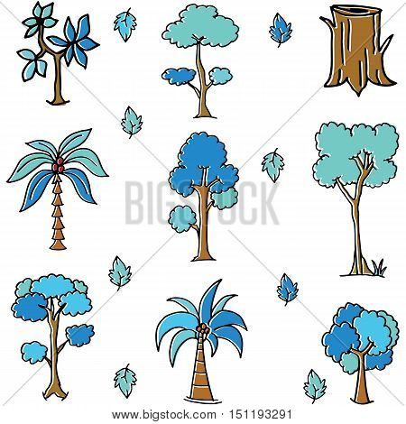 Blue tree style of doodles vector illustration