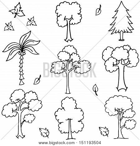 Tree set with hand draw doodles vector art