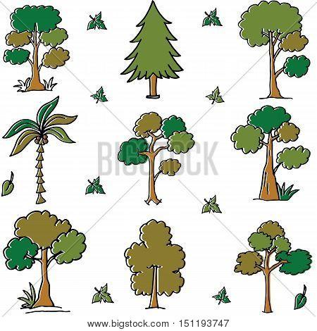 Tree different vector art doodles illustration set