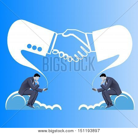 Deals are made in cloud business concept. Two businessmen in suits seat on clouds and establishing connection via their smart phones. Business in web or cloud, partnership, searching for opportunities