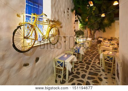 NAXOS, GREECE - SEPTEMBER 23, 2016: Restaurant in the old town of Naxos on September 23, 2016.