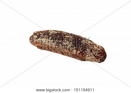 Loaf Of Rye Unleavened  Bread Sprinkled Sesame Isolated On White Background.