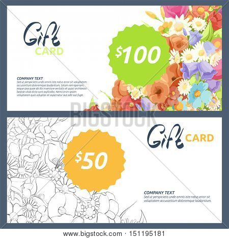 Beautiful gift card with a picture of color and black-and-white flowers