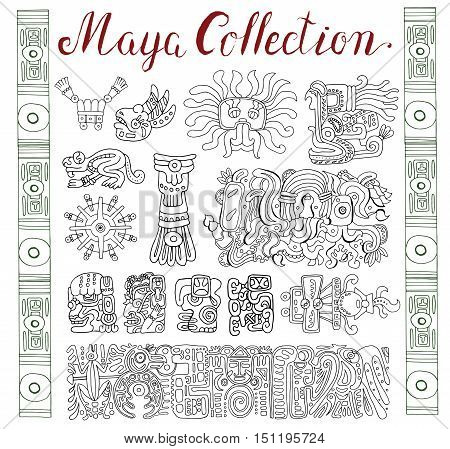 Vintage collection with graphic maya, inca and aztec zodiac ornaments and symbols in old american indian style. Pattern vector illustration and doodle drawing for design. Ancient glyphs and icons