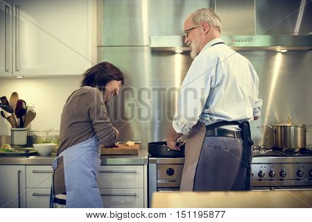 Cooking Senior Couple Togetherness Concept