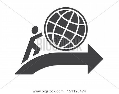 abstract human symbol pushing earth up as moving progress ahead concept vector illustration isolated on white