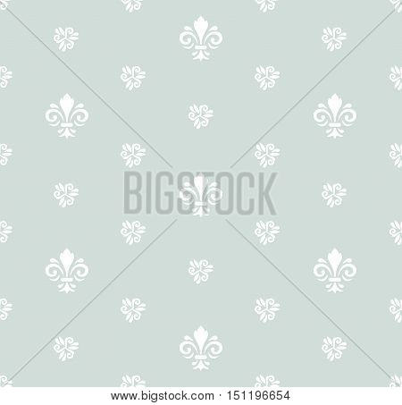 Seamless vector light blue and white ornament. Modern geometric pattern with royal lilies