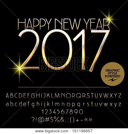 Vector exclusive Happy New Year 2017 greeting card with set of letters, symbols and numbers. File contains graphic styles
