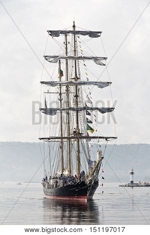 Varna, Bulgaria - October 01: international Tall Ships fleet is returning to the Black Sea 2016. Bulgarian tall ship Kaliakra