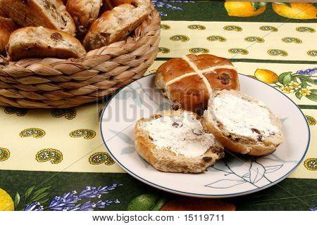 Buttered hot cross buns