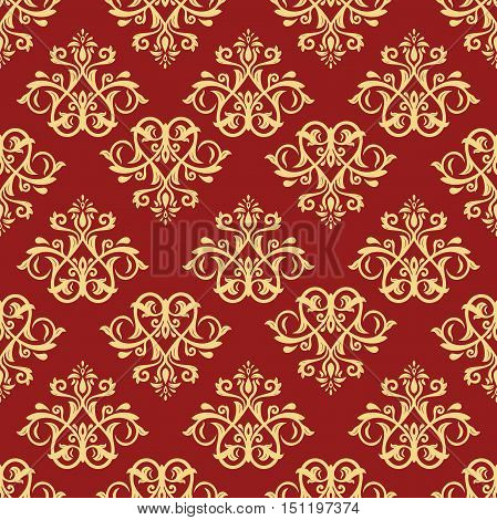 Damask vector classic red and golden pattern. Seamless abstract background with repeating elements