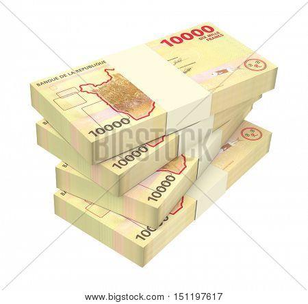Burundian francs bills isolated on white background. 3D illustration.