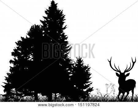 illustration with black deer running to forest isolated on white background