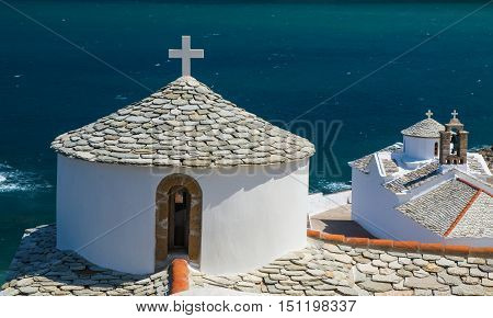 Ortodox church in Skopelos island Greece Sporades archipelago