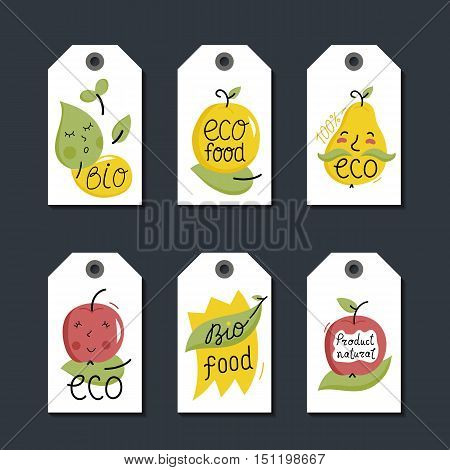 Eco and bio food labels set isolated on black background. Natural products price tags for organic foods shop, vegan cafe, restaurant, eco bar. Healthy eating concept. Vegetarian food diet design