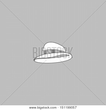cowboy hat Simple line vector button. Thin line illustration icon. White outline symbol on grey background