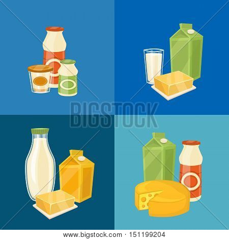 Assortment of different dairy products, isolated square composition vector illustration. Nutritious and natural tasty food. Organic farmers food. Organic food and dairy product concept. Milk product icon. Cartoon dairy product. Dairy icon.