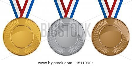 medals set isolated on a white background.