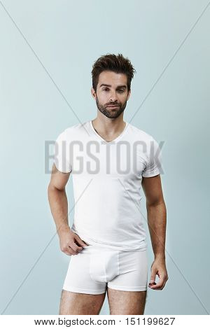 Man posing in underpants portrait -in studio