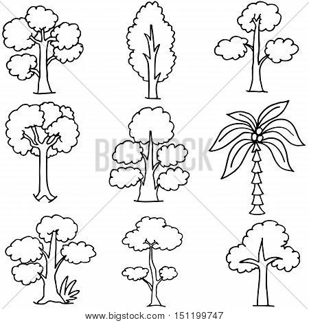 Doodle of tree hand draw style vector art