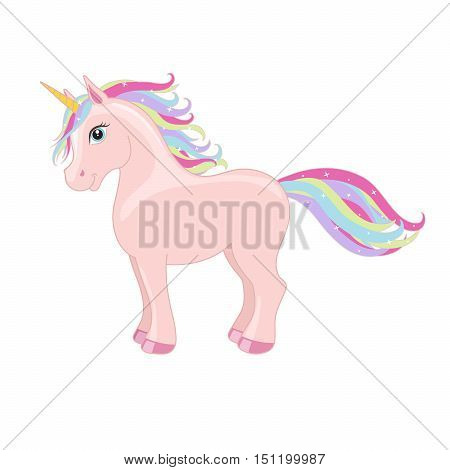 Pink magic standing unicorn with rainbow mane and horn isolated on white background. Vector illustration.