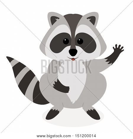 Funny raccoon waving isolated on white background. Adorable vector raccoon. Cute cartoon pet.