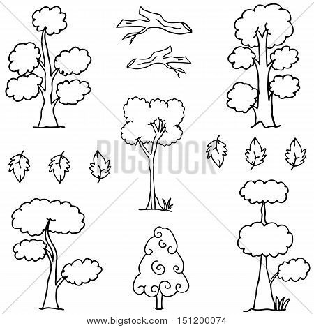 Hand draw of tree set doodle vector art