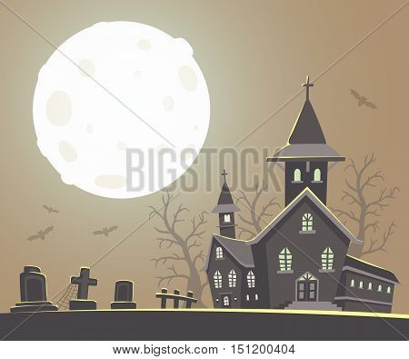 Vector Halloween Illustration Of Haunted House, Cemetery, Bats, Big Full Moon On Gray Background Wit