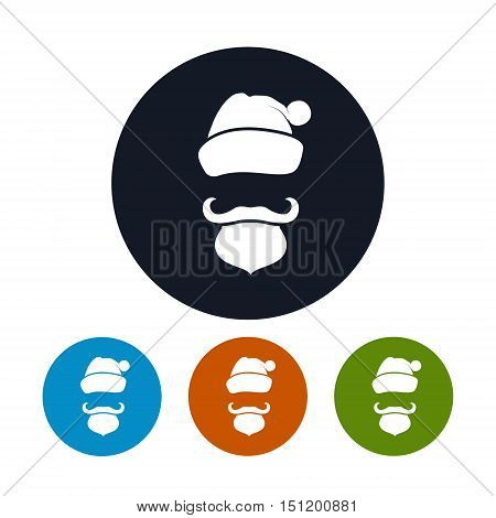 Icon of a Santa Claus Face ,Four Types of Colorful Round Icons Santa Claus with a Beard, Mustache and Hat without a Face, Vector Illustration