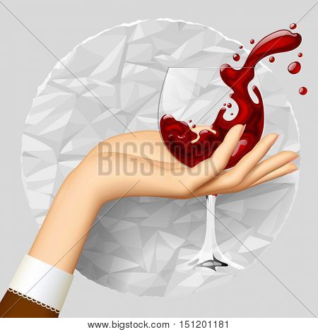 Woman's hand holding a wineglass with splashed wine on crumpled paper circle. Vector illustration