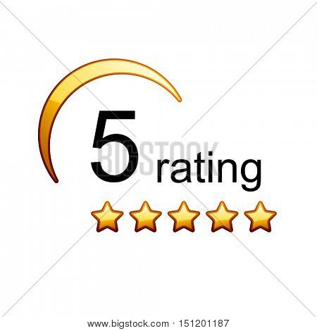5 golden rating stars icon vector