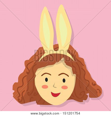 Face of a curly girl with rabbit headband on pink background.