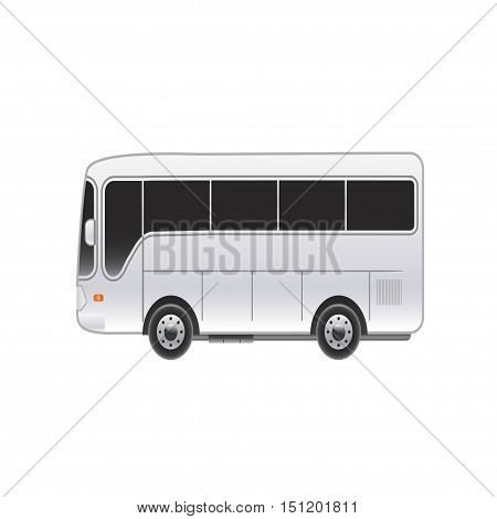 Large bright bus on a white background. Vector illustration