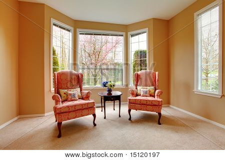 Two Pink Armchairs And Cherry Blossom In The Window