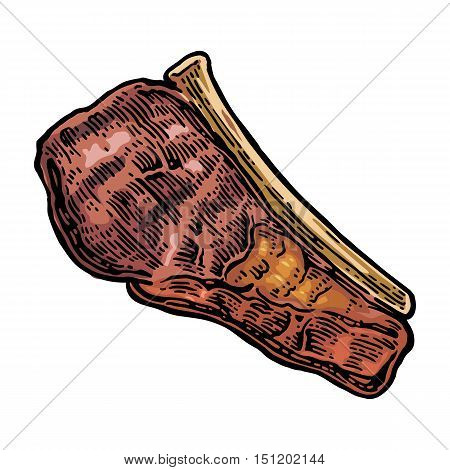 Beef grilled steak with bone top view. Vintage color vector engraving illustration. Isolated on white background.