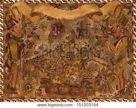 Pirate map of maya and aztecs treasures with banner on ancient paper manuscript. Hand drawn illustration. Vintage adventures, treasure hunt and old transportation concept. American Indian style
