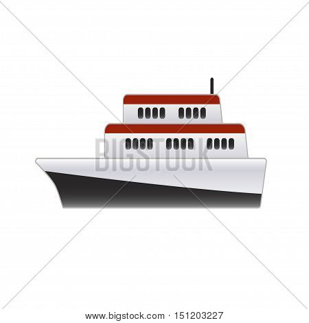 Small ship on a white background. Vector illustration