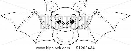 Cute bat on a white background, Coloring Page