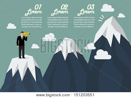 Businessman looking for mountain peak infographic. Business concept