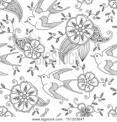 Seamless pattern with swallow bird flying in garden hand drawn isolated on white background. Vector illustration.